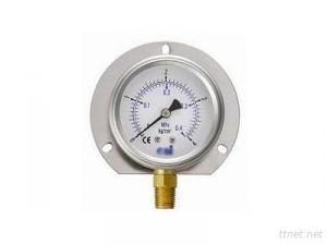 Oil-filled vertical pressure gauge attached to the